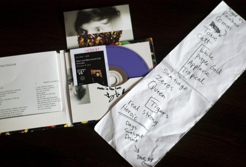 Setlist du concert du 07/11/2012